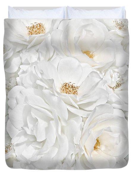 All The White Roses  Duvet Cover