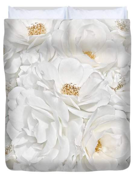 All The White Roses  Duvet Cover