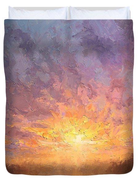Impressionistic Sunrise Landscape Painting Duvet Cover