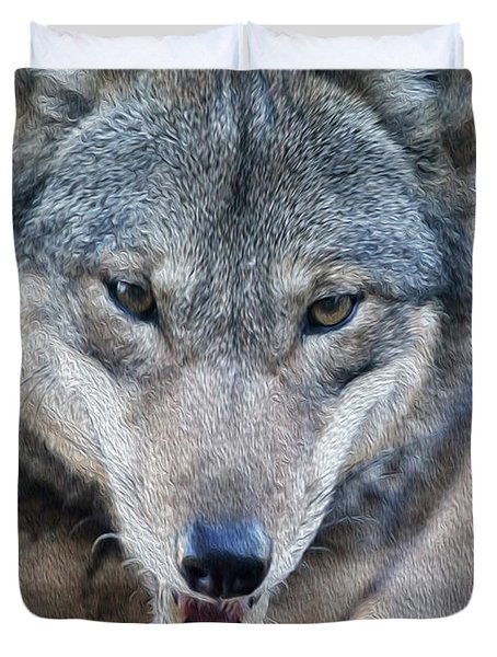 All Wolf Duvet Cover by Karol Livote