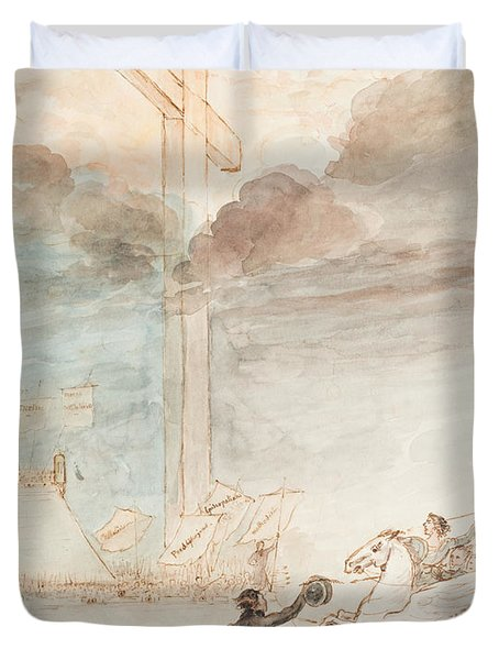 Allegory   Knowledge Versus Orthodox Religion Duvet Cover by Auguste Hervieu