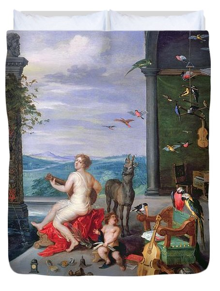 Allegory Of Music Oil On Canvas Duvet Cover by Jan the Elder Brueghel