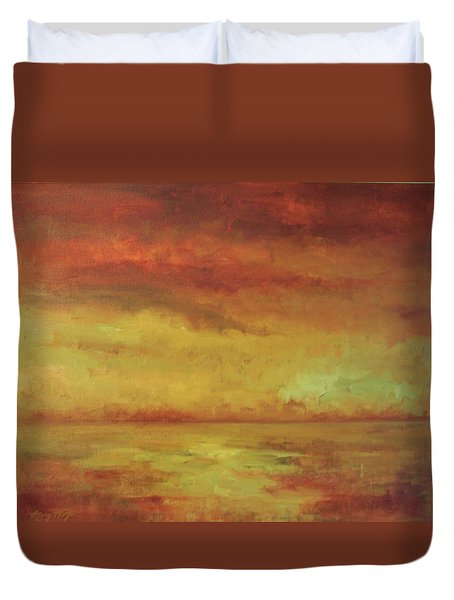 Duvet Cover featuring the painting Allegro by Mary Wolf