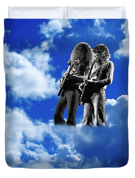 Duvet Cover featuring the photograph Allen And Steve In Clouds by Ben Upham