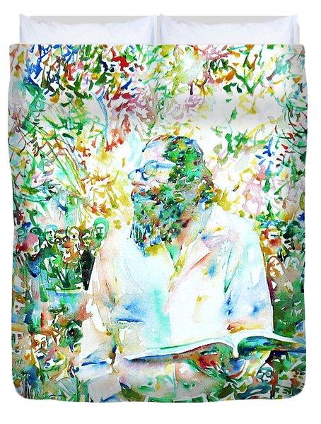 Allen Ginsberg Reading At The Park Duvet Cover