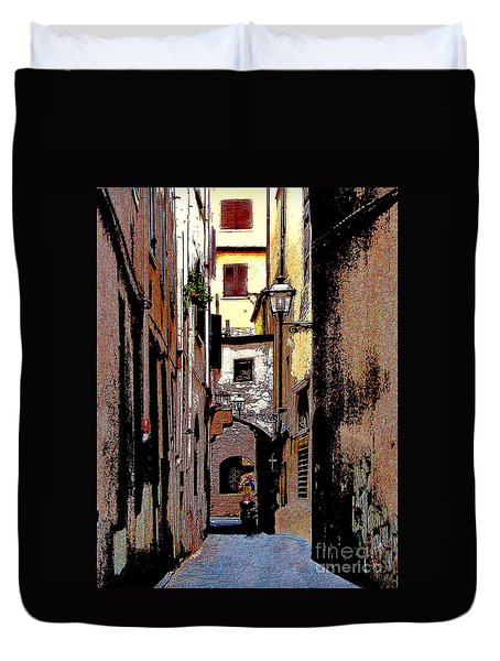 Duvet Cover featuring the digital art Alley In Florence 2 Digitized by Jennie Breeze