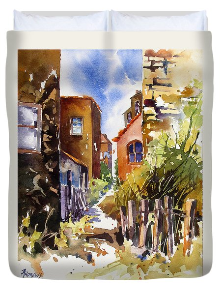 Duvet Cover featuring the painting Alleyway Charm 2 by Rae Andrews
