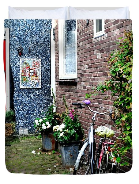 Duvet Cover featuring the photograph Alleyway In Dutch Village by Joe  Ng
