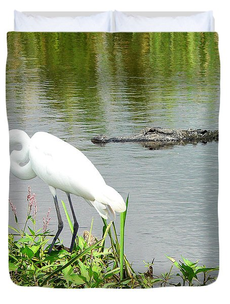 Alligator Egret And Shrimp Duvet Cover by Al Powell Photography USA