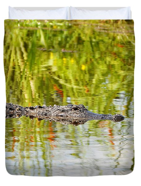Alligator Reflection Duvet Cover by Al Powell Photography USA