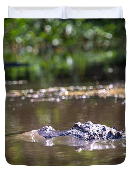 Alligator Swimming In Bayou 1 Duvet Cover