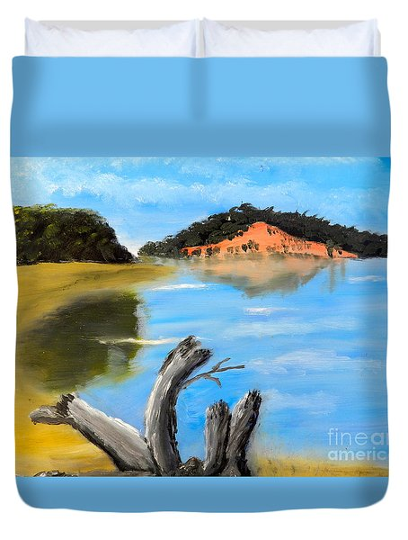 Duvet Cover featuring the painting Allonah Beach Tasmania by Pamela  Meredith