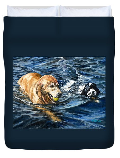 Ally And Smitty Duvet Cover by Eileen Patten Oliver