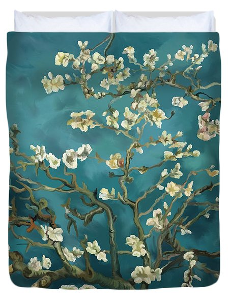 Duvet Cover featuring the painting Almond Blossoms' Reproduction by Tim Gilliland
