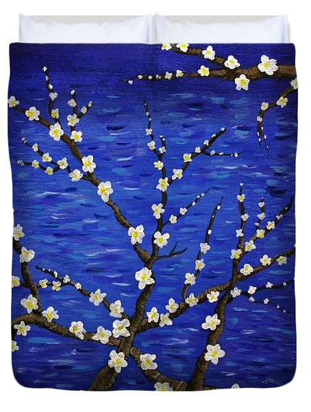 Almond Branches In Bloom Duvet Cover by Vicki Maheu