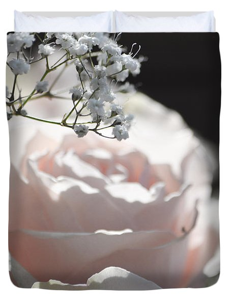 Almost White Roses Duvet Cover