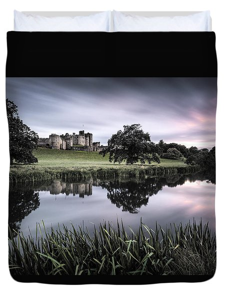Alnwick Castle Sunset Duvet Cover by Dave Bowman