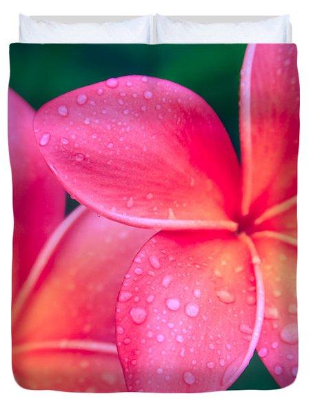 Aloha Hawaii Kalama O Nei Pink Tropical Plumeria Duvet Cover