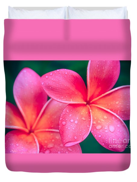Aloha Hawaii Kalama O Nei Pink Tropical Plumeria Duvet Cover by Sharon Mau
