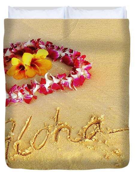 Duvet Cover featuring the photograph Aloha Lei by Kristine Merc