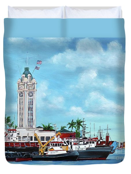 Aloha Tower Duvet Cover