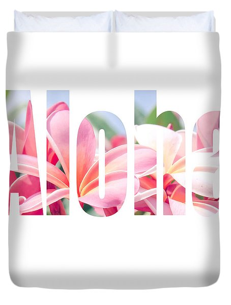 Aloha Tropical Plumeria Typography Duvet Cover
