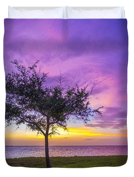 Alone At Sunset Duvet Cover