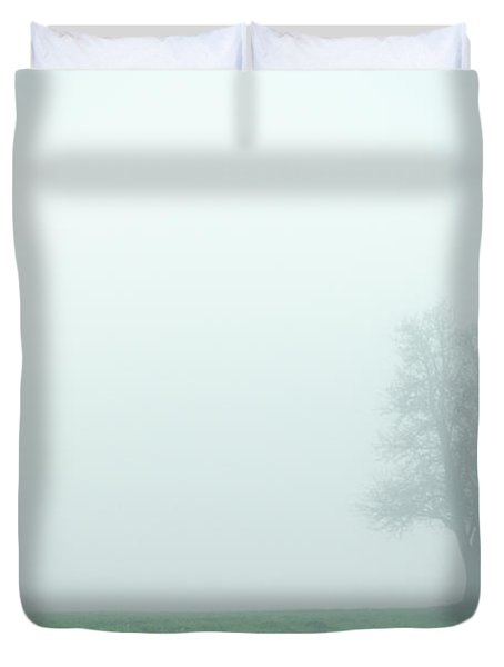 Alone In The Fog - Green Duvet Cover by Hannes Cmarits