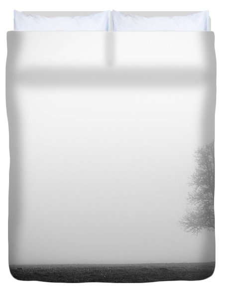 Alone In The Fog - Bw Duvet Cover by Hannes Cmarits