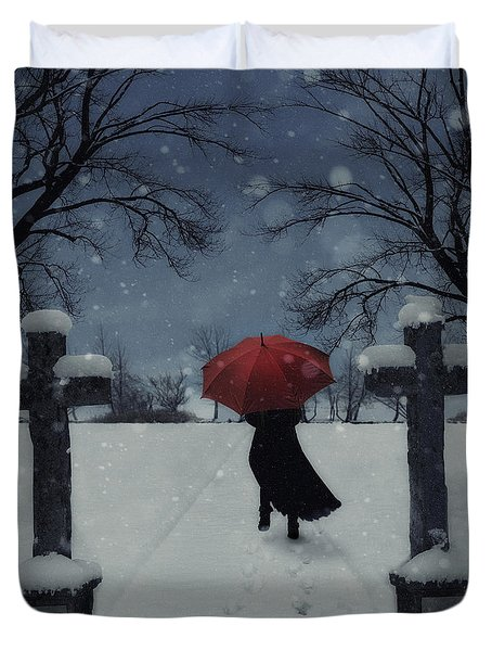 Alone In The Snow Duvet Cover by Joana Kruse