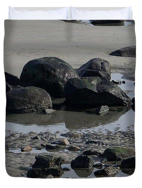 Along A Maine Beach Duvet Cover by Eunice Miller