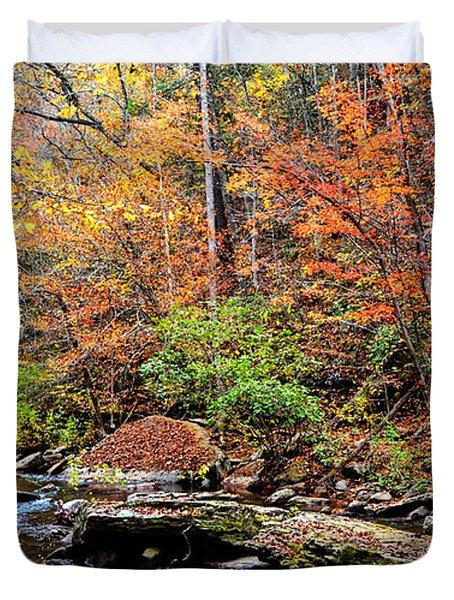 Along Fall Creek Duvet Cover by Paul Mashburn