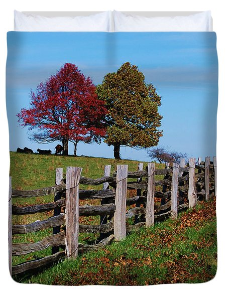 Along The Fence Duvet Cover by Eric Liller