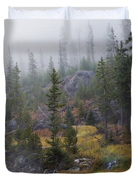 Along The Gibbon In Fall Duvet Cover