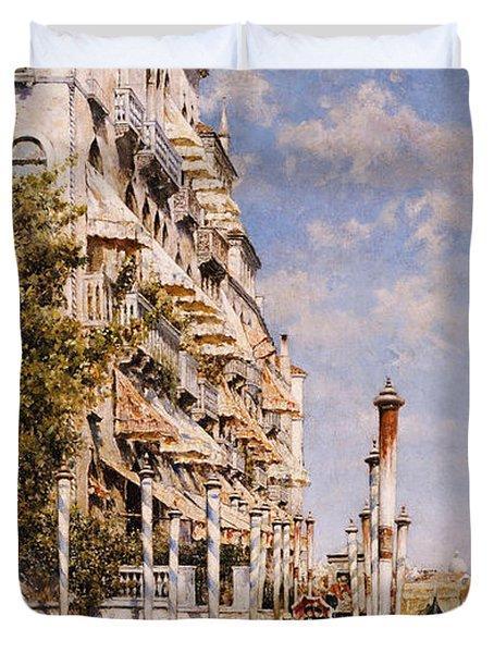 Along The Grand Canal Duvet Cover by Rafael Senet