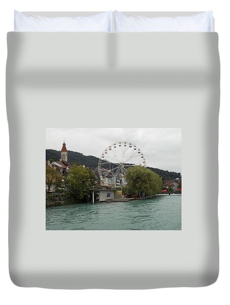 Along The River In Thun Duvet Cover