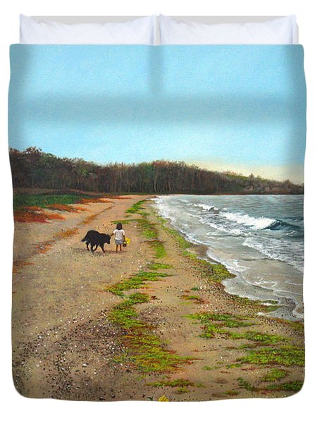 Along The Shore In Hyde Hole Beach Rhode Island Duvet Cover by Christopher Shellhammer