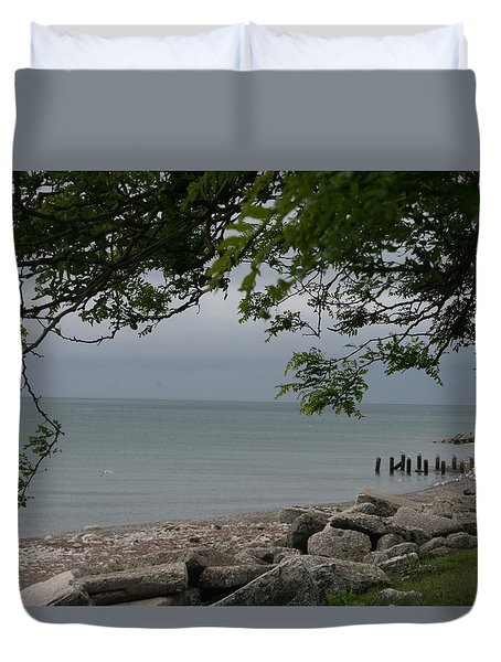Duvet Cover featuring the photograph Along The Shore by Kay Novy