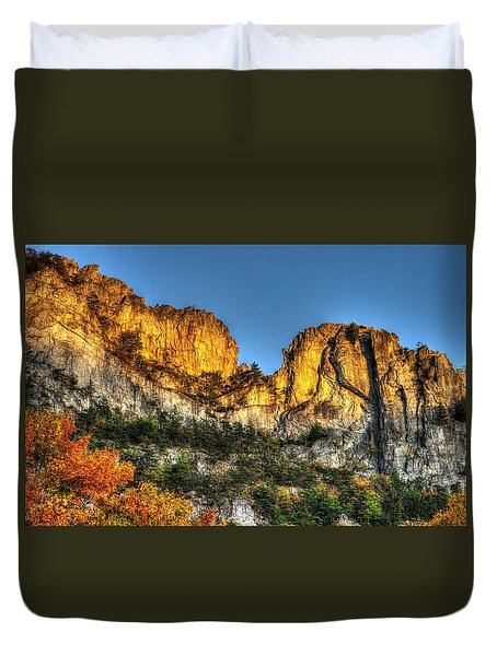 Alpenglow At Days End Seneca Rocks - Seneca Rocks National Recreation Area Wv Autumn Early Evening Duvet Cover