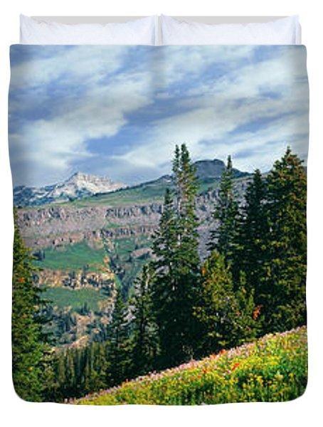 Alpine Flowers In A Field Duvet Cover