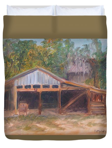 Alpine Groves Fruit Packing Shed Duvet Cover