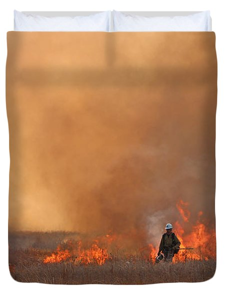 Duvet Cover featuring the photograph Alpine Hotshots Ignite The Norbeck Prescribed Fire. by Bill Gabbert