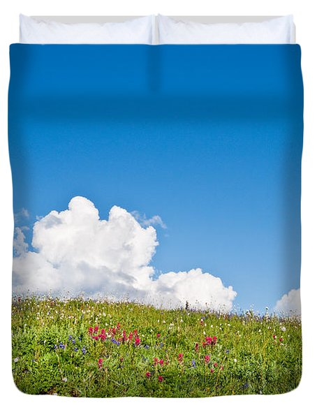 Alpine Meadow And Cloud Formation Duvet Cover