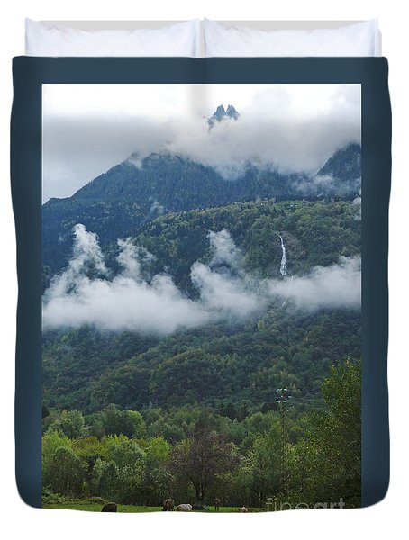 Duvet Cover featuring the photograph Alpine Meadow - Chiavenna - Lombardy  by Phil Banks