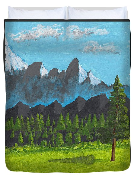 Duvet Cover featuring the painting Alpine Meadow by David Jackson