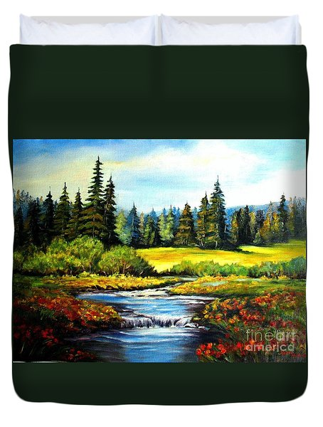 Duvet Cover featuring the painting Alpine Meadow by Hazel Holland