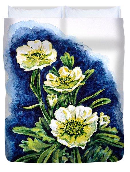 Alpine Ranunculus Duvet Cover by Zaira Dzhaubaeva