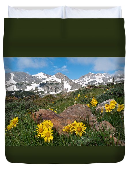 Alpine Sunflower Mountain Landscape Duvet Cover