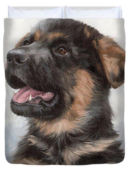 Alsatian Puppy Painting Duvet Cover