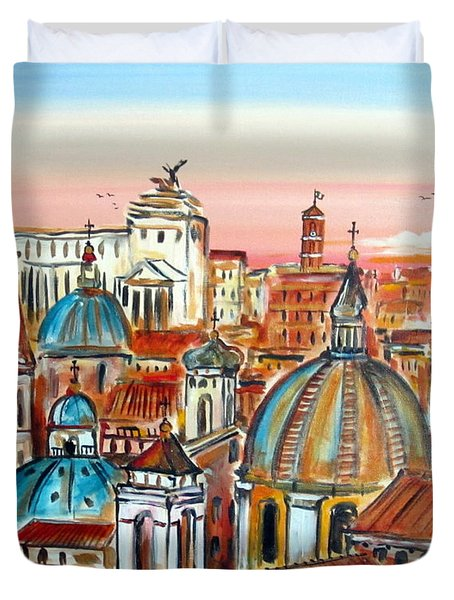 Duvet Cover featuring the painting Altare Della Patria In Roma by Roberto Gagliardi